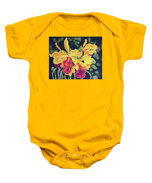Yellow Orchids Baby Onesie