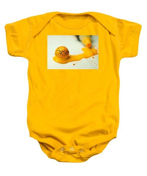 Yellow Painted Ball Baby Onesie