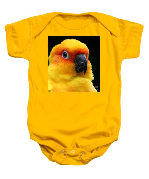 Yellow Parrot Closeup Baby Onesie
