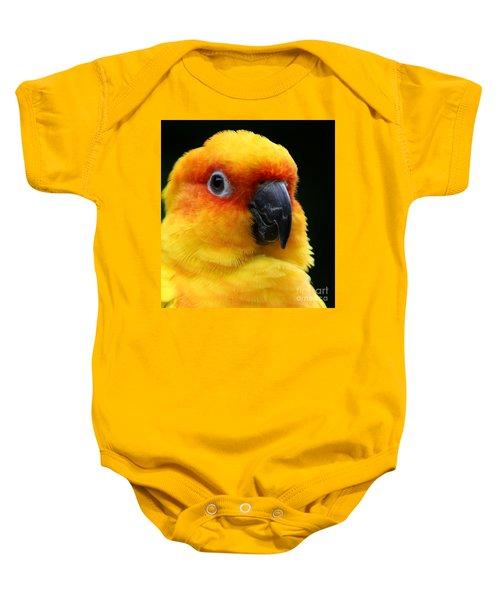Yellow Parrot Closeup Baby Onesie