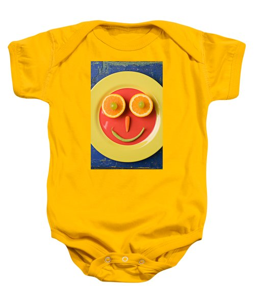 Yellow Plate With Food Face Baby Onesie by Garry Gay