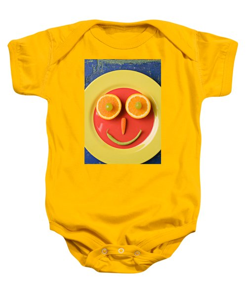 Yellow Plate With Food Face Baby Onesie