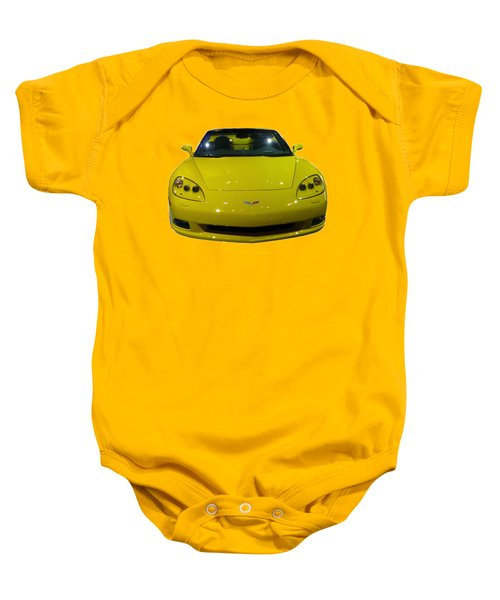 Yellow Sports Car Front Baby Onesie