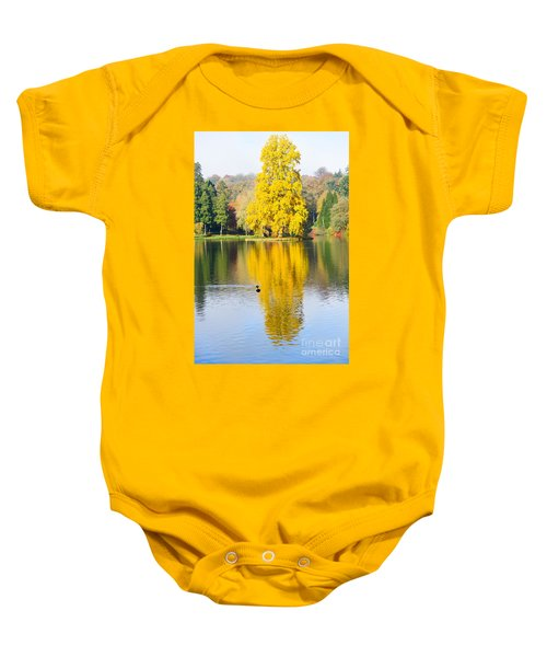 Yellow Tree Reflection Baby Onesie