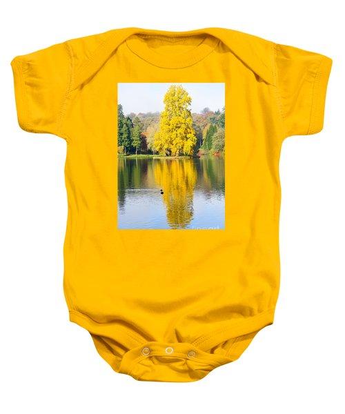 Yellow Tree Reflection Baby Onesie