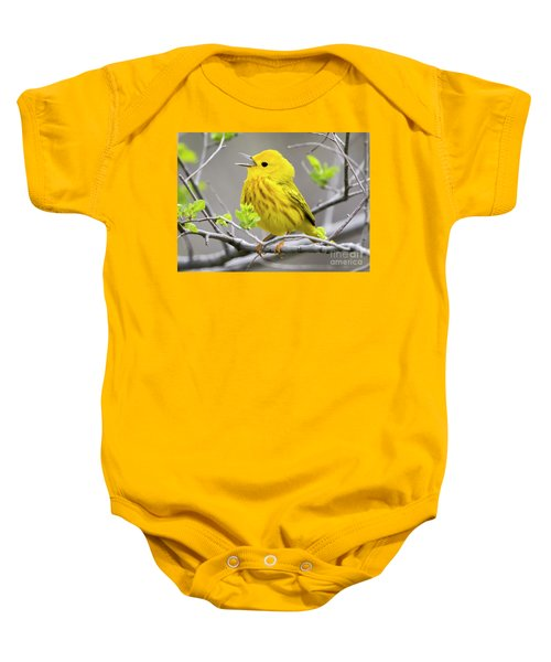 Yellow Warbler  Baby Onesie by Ricky L Jones