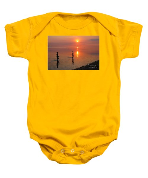 Young Fishermen At Sunset Baby Onesie