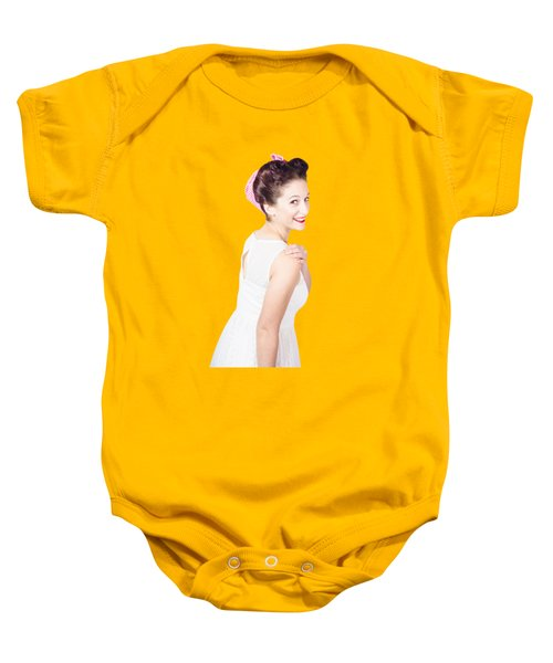 Baby Onesie featuring the photograph Young Happy Retro Woman Wearing Red Lipstick by Jorgo Photography - Wall Art Gallery
