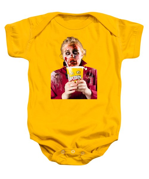 Zombie Woman Watching Scary Movie With Popcorn Baby Onesie by Jorgo Photography - Wall Art Gallery