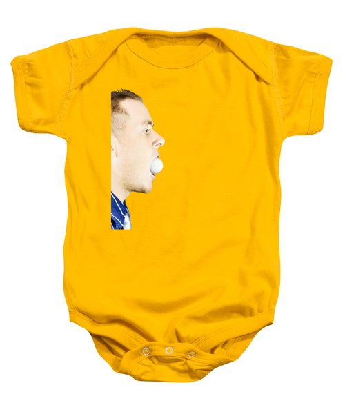 Man With Golf Ball In Mouth Baby Onesie