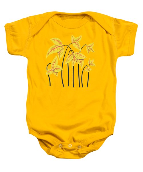 Abstract Flowers Geometric Art In Vibrant Coral And Yellow  Baby Onesie