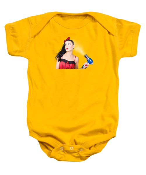 Attractive Brunette Girl Dressed In Red Baby Onesie