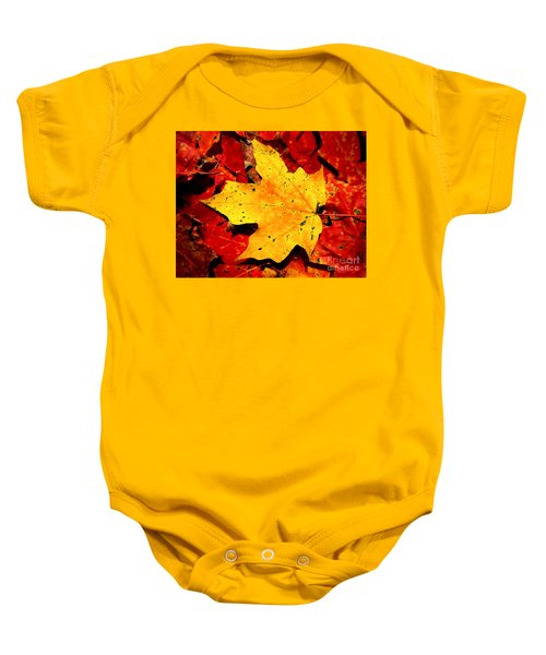 Autumn Beige Yellow Leaf On Red Leaves Baby Onesie