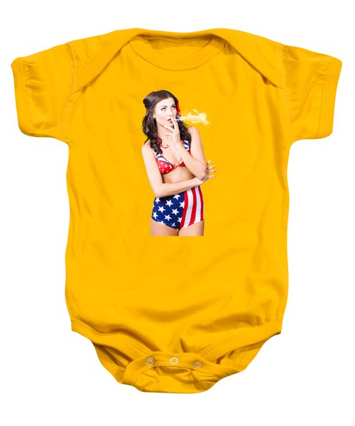 Baby Onesie featuring the photograph Beautiful American Military Pin Up Girl by Jorgo Photography - Wall Art Gallery