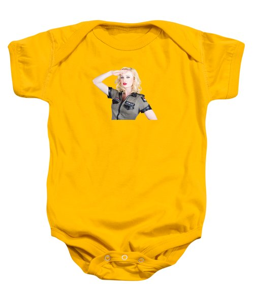 Beautiful Blond Woman In Military Outfit Baby Onesie