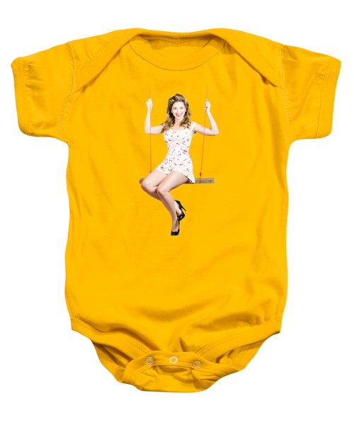Beautiful Fifties Pin Up Girl Smiling On Swing Baby Onesie