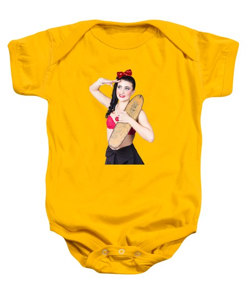 Beautiful Young 80s Skater Girl Isolated On Yellow Baby Onesie