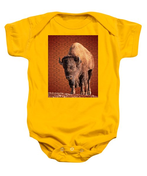 Baby Onesie featuring the photograph Bison Blanket by Mary Hone