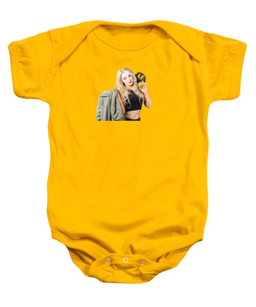 Blond Pin Up Woman Holding Gasmask. Nuclear Pinups Baby Onesie
