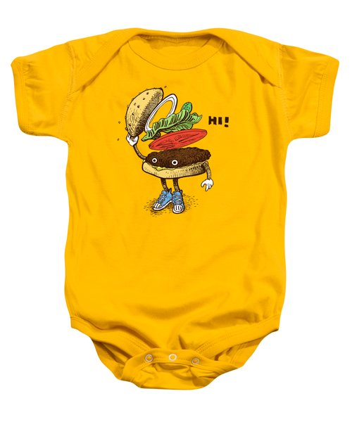 Burger Greeting Baby Onesie
