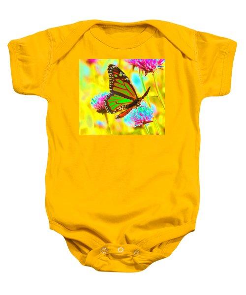 Butterfly Green  Baby Onesie