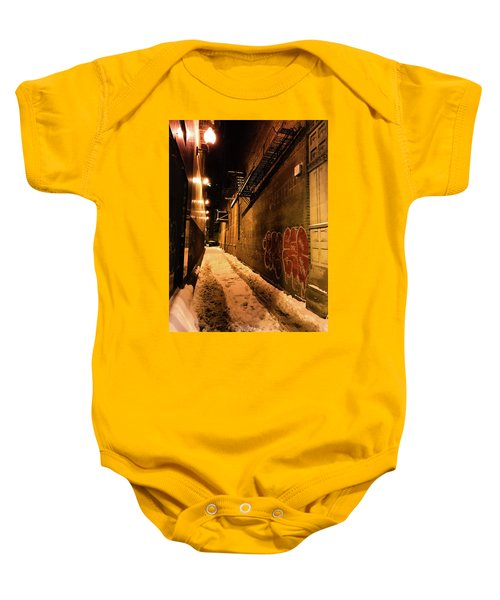 Baby Onesie featuring the photograph Chicago Alleyway At Night by Shane Kelly
