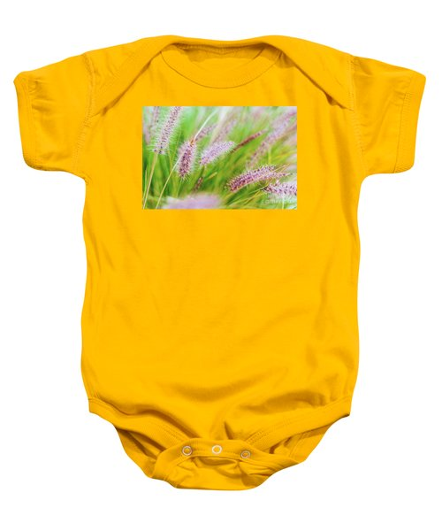 Colorful Flowers In Purple Spikes, Purple Fountain Grass, Close- Baby Onesie