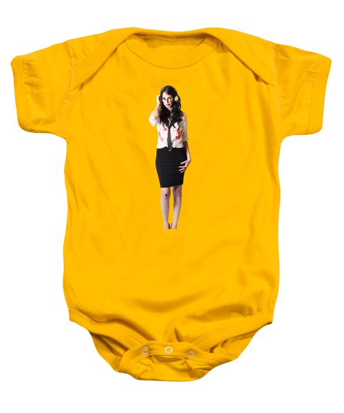 Baby Onesie featuring the photograph Creepy Female Zombie With Headphones by Jorgo Photography - Wall Art Gallery