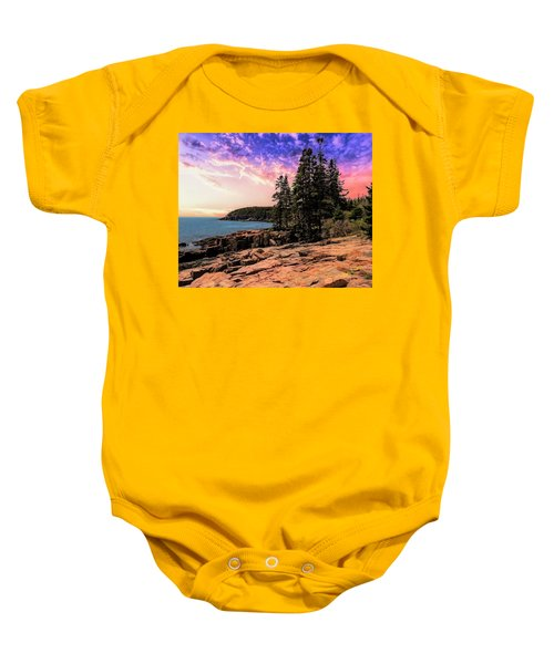 Distant View Of Otter Cliffs,acadia National Park,maine. Baby Onesie