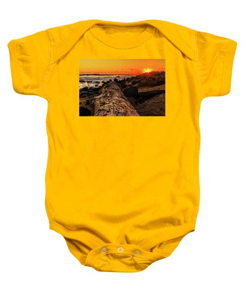 Baby Onesie featuring the photograph Driftwood At Sunset by John Bauer