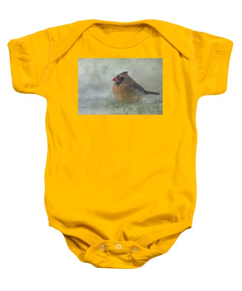 Female Cardinal With Seed Baby Onesie