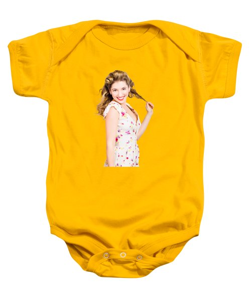 Female Model With Perfect Skin And Curly Hairstyle Baby Onesie