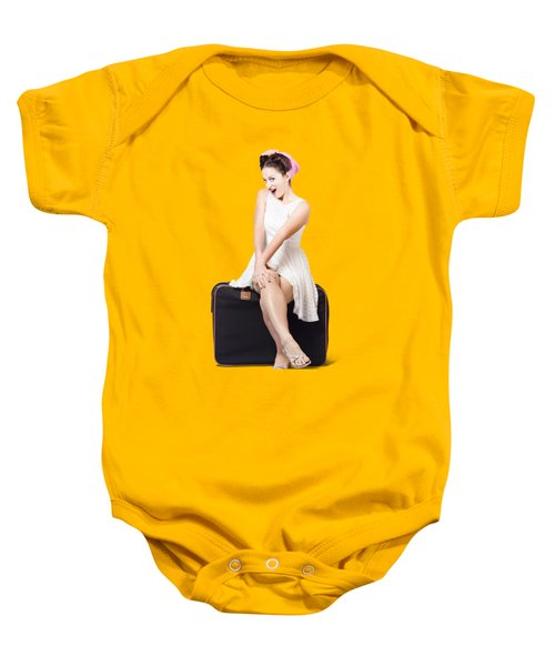 Female Pinup Travelling Tourist Sitting On Luggage Baby Onesie