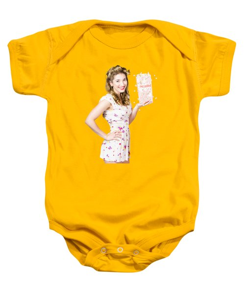 Baby Onesie featuring the photograph Film And Cinema Pin-up Lady by Jorgo Photography - Wall Art Gallery