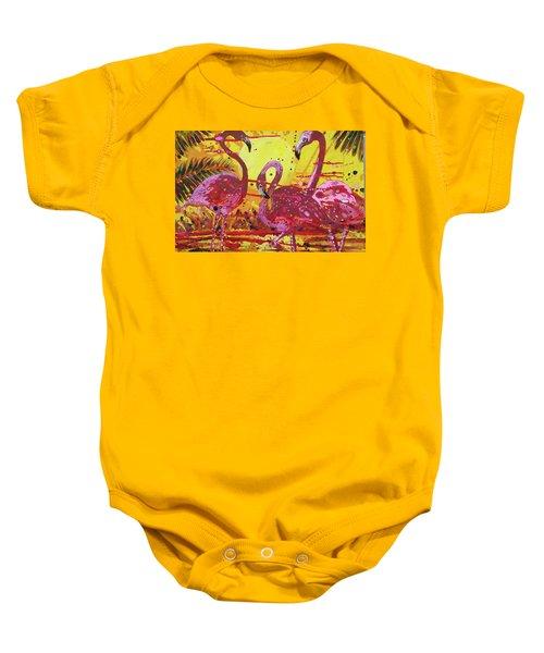 Flamingo Sunset Baby Onesie