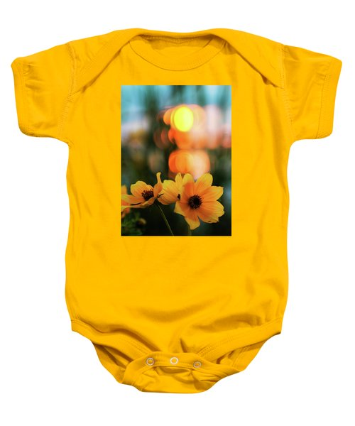 Flowery Bokeh Sunset Baby Onesie