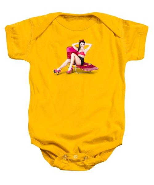 Glamour Pin-up Girl. Retro Summer Fashion Baby Onesie
