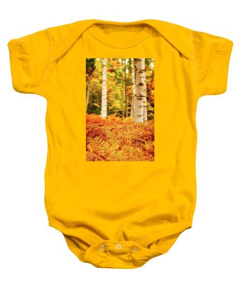 Golden Ferns In The Birch Glade Baby Onesie