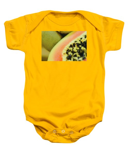 Group Of Fruits Papaya, Grape, Kiwi And Bananas Baby Onesie
