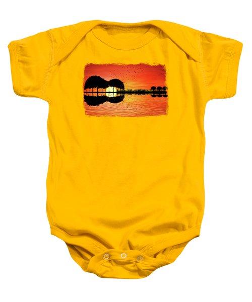 Guitar Island Sunset Baby Onesie