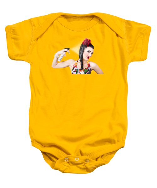 Haircare. Brunette Pinup Woman Using Hair Product Baby Onesie