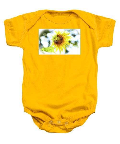 Honey Bees On Sunflower Baby Onesie