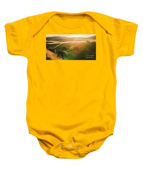 Icelandic Landscapes, Sunset In A Meadow With Horses Grazing  Ba Baby Onesie