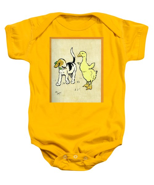 Illustration Of Puppy And Gosling Baby Onesie
