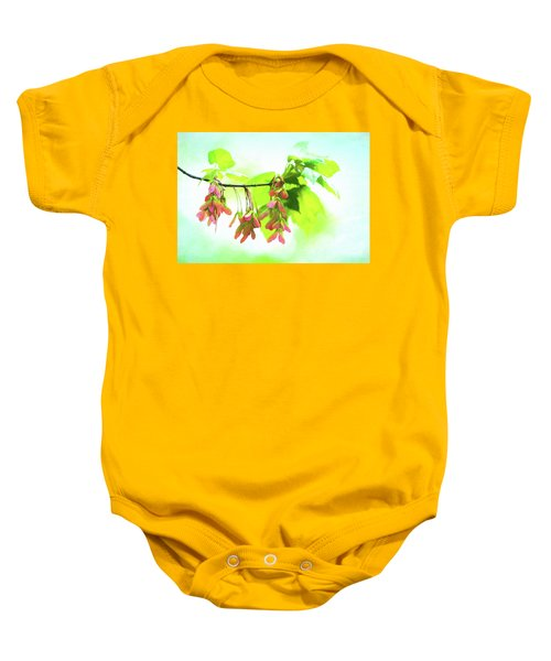 Impressionistic Maple Seeds And Foliage Baby Onesie