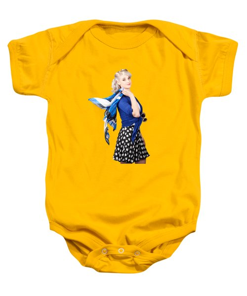 Isolated Caucasian Woman With Pinup Fashion Style Baby Onesie