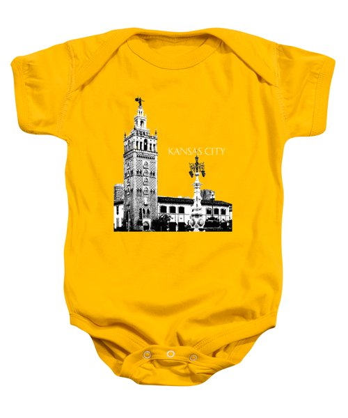 Kansas City Skyline 2 - Dark Orange Baby Onesie