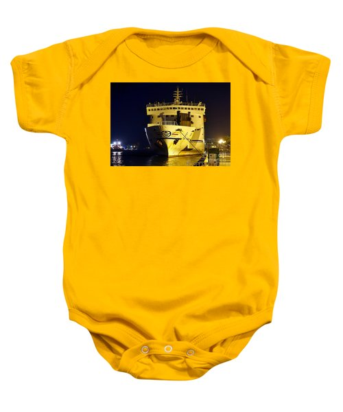 Large Ferry Docked In Port By Night Baby Onesie
