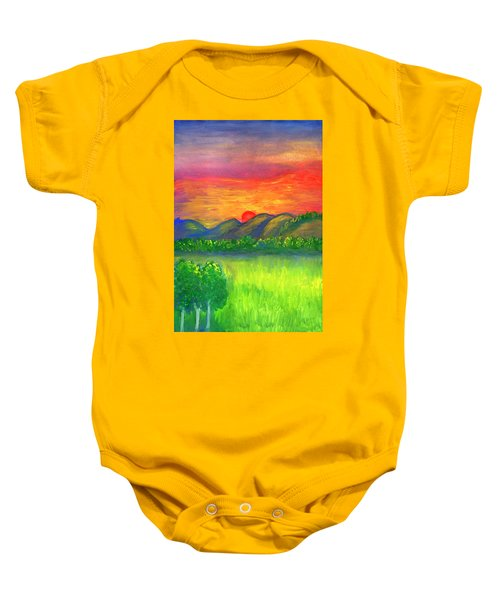 Mystical Red Sunset Baby Onesie