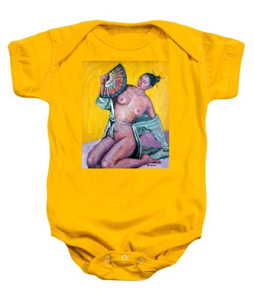 Nude Girl With Fan Baby Onesie